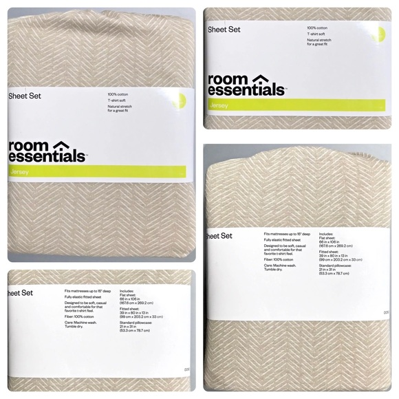 Room Essentials Other | Jersey Sheet Set Chevron Twin Xl | Poshmark